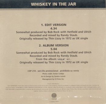 Metallica Whiskey In The Jar, Vertigo mexico, CD Promo