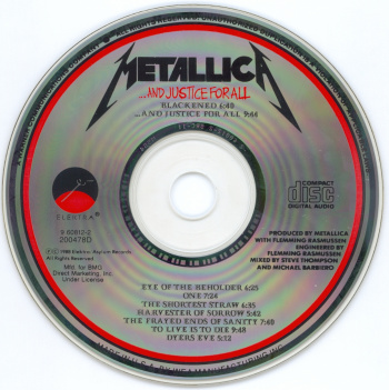 Metallica ...And Justice For All, Elektra usa, CD
