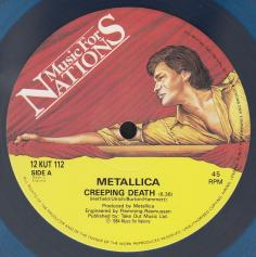 "Metallica Creeping Death, Music For Nations united kingdom, 12"" clear light blue"